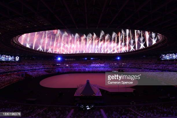 Fireworks explode during the Opening Ceremony of the Tokyo 2020 Olympic Games at Olympic Stadium on July 23, 2021 in Tokyo, Japan.