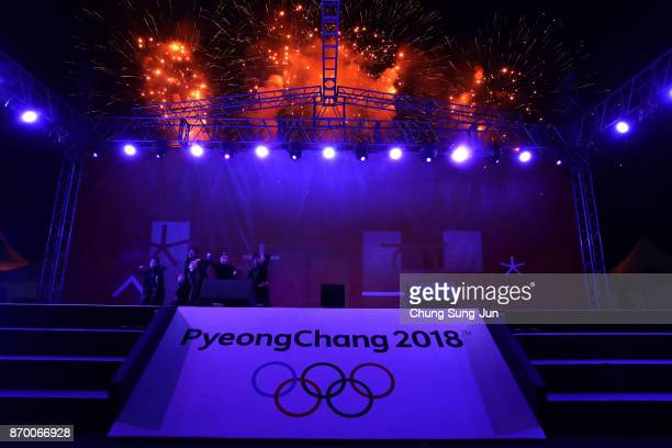 Fireworks explode during the PyeongChang 2018 Winter Olympic Games torch relay on November 4 2017 in Busan South Korea