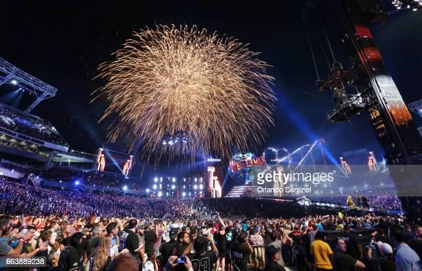 Fireworks explode during WrestleMania 33 on Sunday, April 2, 2017 at Camping World Stadium in Orlando, Fla.