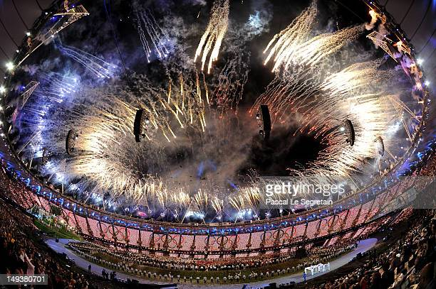 Fireworks explode from the stadium roof during the Opening Ceremony of the London 2012 Olympic Games at the Olympic Stadium on July 27 2012 in London...
