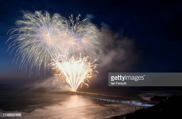 Fireworks explode in the sky above the Victorian Pier at Saltburn during the grand finale event to commemorate its 150th anniversary on May 11 2019...