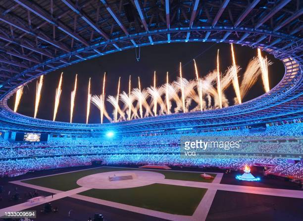 Fireworks explode in the sky during the Closing Ceremony of the Tokyo 2020 Olympic Games at Olympic Stadium on August 8, 2021 in Tokyo, Japan.