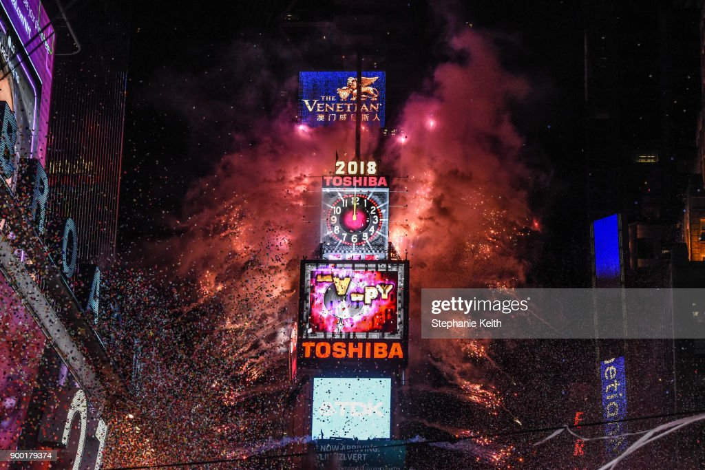 Fireworks explode in Times Square on New Year's Eve on January 1, 2018 in New York City.