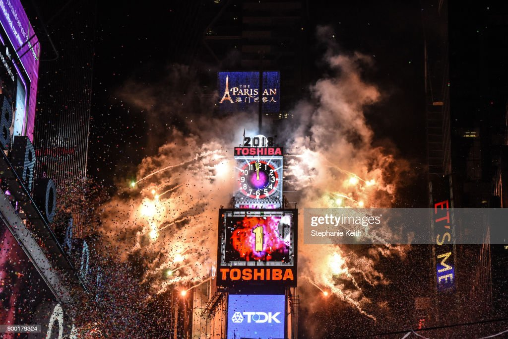 Fireworks explode in Times Square on New Year's Eve the second before the new year on December 31, 2018 in New York City.