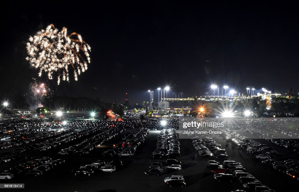 Fireworks explode making the July 4 holiday over Dodger Stadium after the game between the Los Angeles Dodgers and the Pittsburgh Pirates on July 4, 2018 in Los Angeles, California.