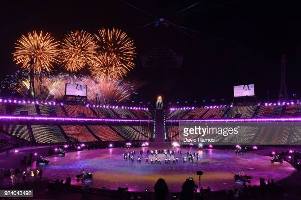 Fireworks explode near the conclusion of the Closing Ceremony of the PyeongChang 2018 Winter Olympic Games at PyeongChang Olympic Stadium on February...