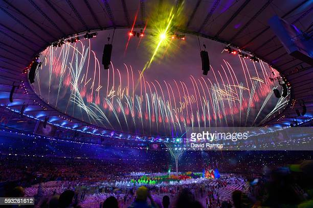Fireworks explode near the conclusion of the Closing Ceremony on Day 16 of the Rio 2016 Olympic Games at Maracana Stadium on August 21 2016 in Rio de...