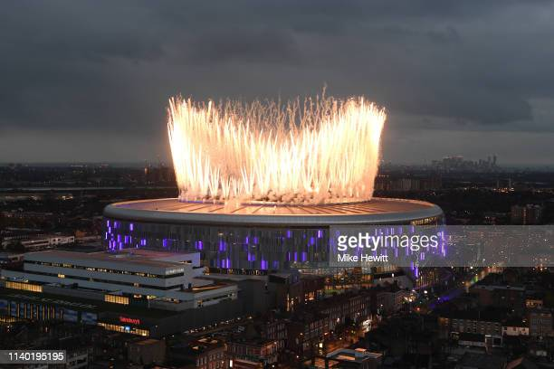 Fireworks explode off the new Tottenham Hotspur Stadium ahead of the Premier League match between Tottenham Hotspur and Crystal Palace at Tottenham...