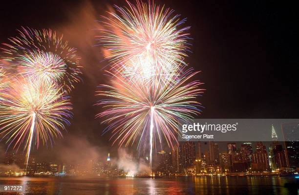 Fireworks explode on July 4 2002 over the New York City skyline during the annual Fourth of July display Despite the security concerns New Yorkers...