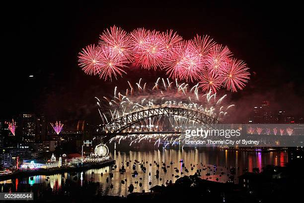 Fireworks explode on New Year's Eve on Sydney Harbour on January 1 2016 in Sydney Australia