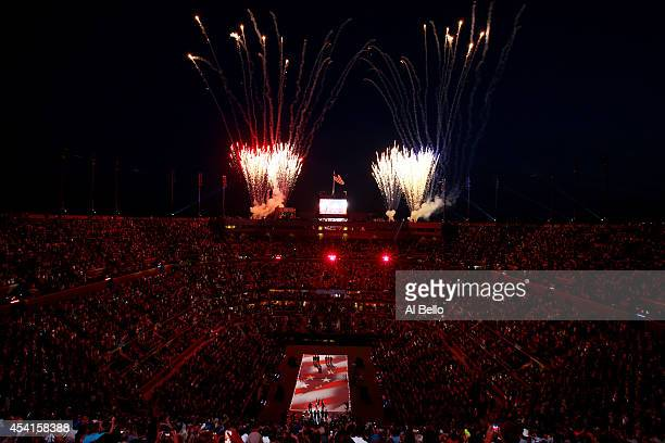 Fireworks explode over Arthur Ashe Stadium during the opening ceremony on Day One of the 2014 US Open at the USTA Billie Jean King National Tennis...