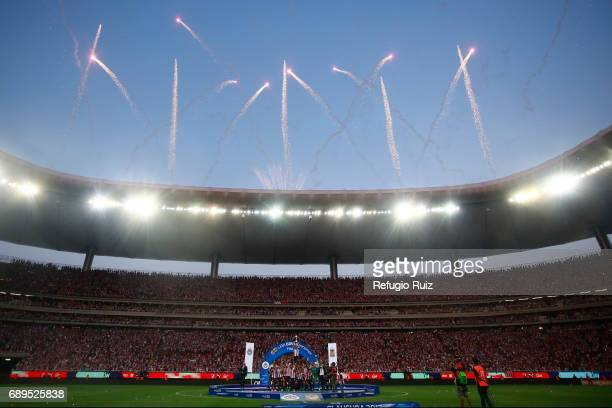 Fireworks explode over Chivas Stadium after the Final second leg match between Chivas and Tigres UANL as part of the Torneo Clausura 2017 Liga MX at...