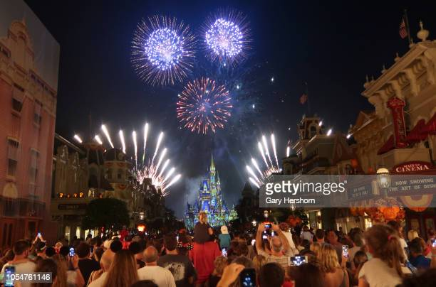 Fireworks explode over Cinderella Castle during the Happily Ever After fireworks show at the Walt Disney World Magic Kingdom entertainment park on...