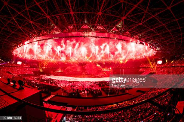 Fireworks explode over Gelora Bung Karno Main Stadium during the opening ceremony of the 18th Asian Games on August 18, 2018 in Jakarta, Indonesia.