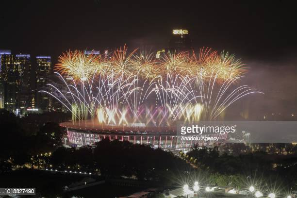 Fireworks explode over Gelora Bung Karno Main Stadium during the opening ceremony of 2018 Asian Games on August 18 2018 in Jakarta Indonesia