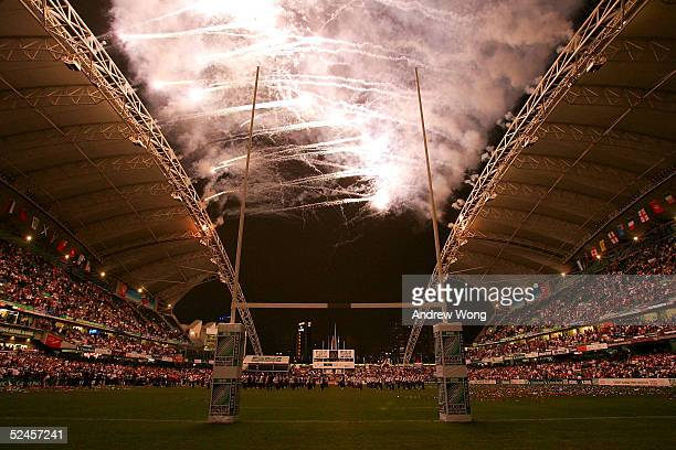 Fireworks explode over Hong Kong Stadium during the trophy presentation ceremony after Fiji defeated New Zealand in the Melrose Cup Final on day...