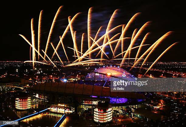 Fireworks explode over Khalifa Stadium after the lighting of the torch during the Opening Ceremony at the 15th Asian Games on December 1, 2006 in...