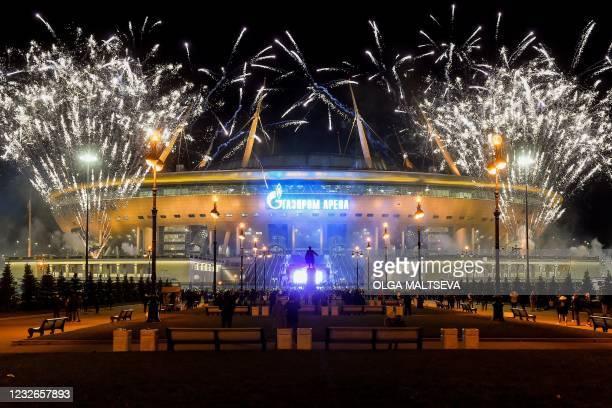 Fireworks explode over Krestovsky Stadium in Saint Petersburg on May 2, 2021 after FC Zenit Saint Petersburg won the Russian Premier League title. -...
