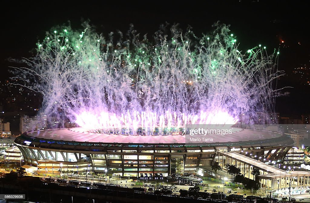Fireworks explode over Maracana stadium during opening ceremonies for the Rio 2016 Olympic Games on August 5, 2016 in Rio de Janeiro, Brazil. The Rio 2016 Olympic Games commenced tonight at the iconic stadium.