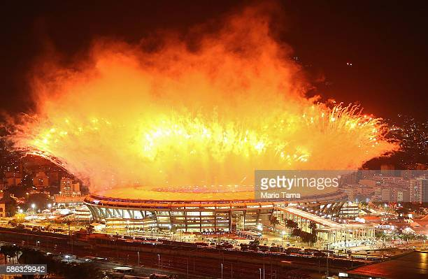 Fireworks explode over Maracana stadium during opening ceremonies for the Rio 2016 Olympic Games on August 5 2016 in Rio de Janeiro Brazil The Rio...