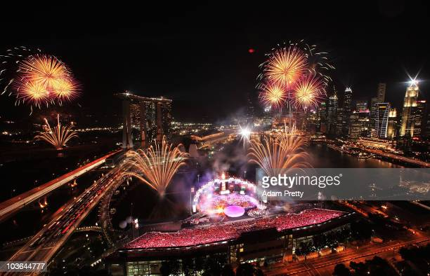 Fireworks explode over Mariana Bay during the Singapore 2010 Youth Olympics closing ceremony on day 12 the Youth Olympics at Marina Bay on August 26...