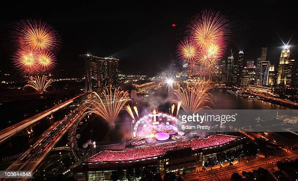 Fireworks explode over Mariana Bay during the Singapore 2010 Youth Olympics closing ceremony on day 12 the Youth Olympics at Marina Bay on August 26,...