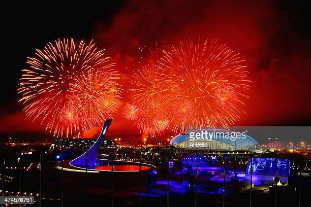 Fireworks explode over Olympic Park during the 2014 Sochi Winter Olympics Closing Ceremony on February 23, 2014 in Sochi, Russia.