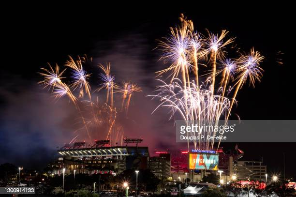 Fireworks explode over Raymond James Stadium at half time during Super Bowl LV between the Tampa Bay Buccaneers and Kansas City Chiefs on February...