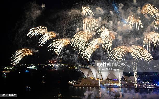 Fireworks explode over Sydney harbour on Australia Day on 26th January 2016 in Sydney Australia