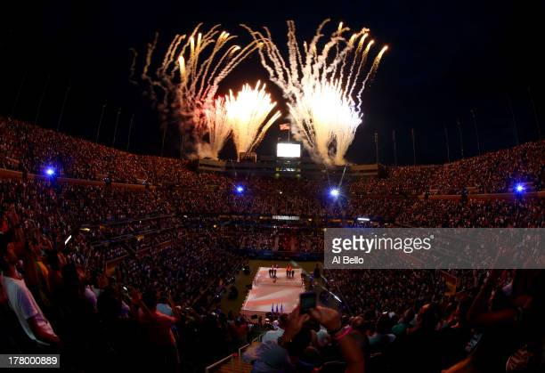 Fireworks explode over the Arthur Ashe Stadium during the opening ceremony of the 2013 US Open on Day One of the 2013 US Open at USTA Billie Jean...
