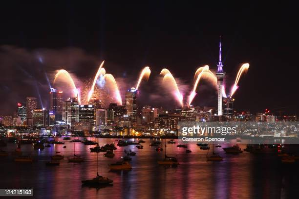 Fireworks explode over the Auckland city and harbour during the IRB 2011 Rugby World Cup Opening Ceremony at Auckland Harbour on September 9, 2011 in...