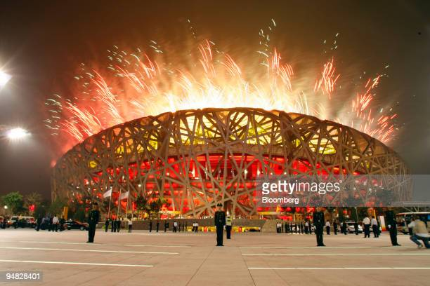 Fireworks explode over the Bird's Nest stadium during the opening ceremony of the 2008 Beijing Olympics in Beijing China on Friday Aug 8 2008 Chinese...