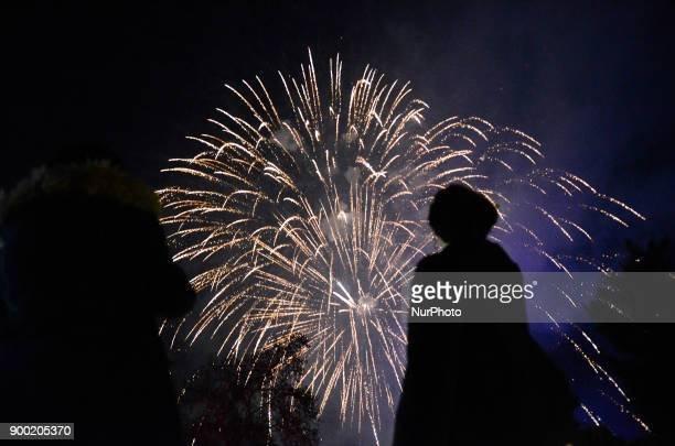 Fireworks explode over the Bulgarian border town of Svilengrad which is located some 260 km east the capital of Sofia and some 15 km the Kapitan...
