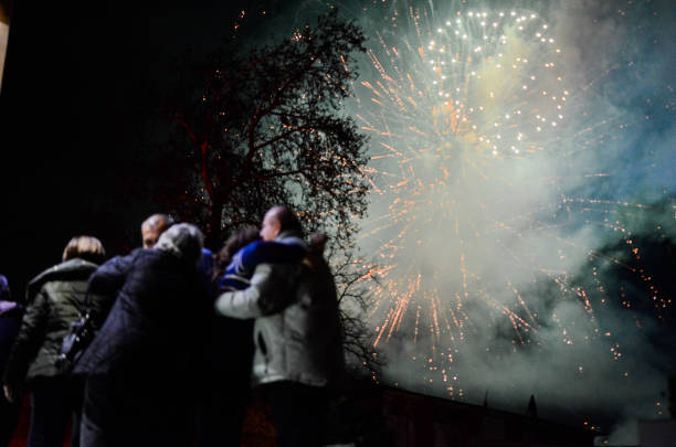fireworks explode over the bulgarian border town of svilengrad which is located some 260 km