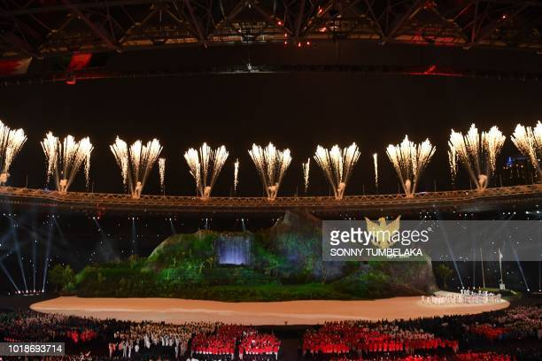 Fireworks explode over the Gelora Bung Karno main stadium during the opening ceremony of the 2018 Asian Games in Jakarta on August 18 2018
