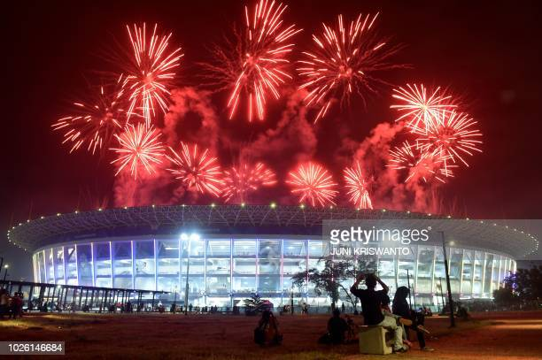 TOPSHOT Fireworks explode over the Gelora Bung Karno main stadium during the closing ceremony of the 2018 Asian Games in Jakarta on September 2 2018