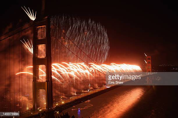 Fireworks explode over the Golden Gate Bridge on May 27 2012 in San Francisco California The Golden Gate Bridge celebrates its 75th anniversary today...