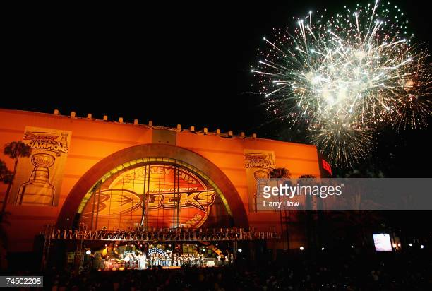 "Fireworks explode over the Honda Center in celebration of winning the 2007 Stanley Cup during the ""Anaheim Ducks Stanley Cup Victory Celebration""..."
