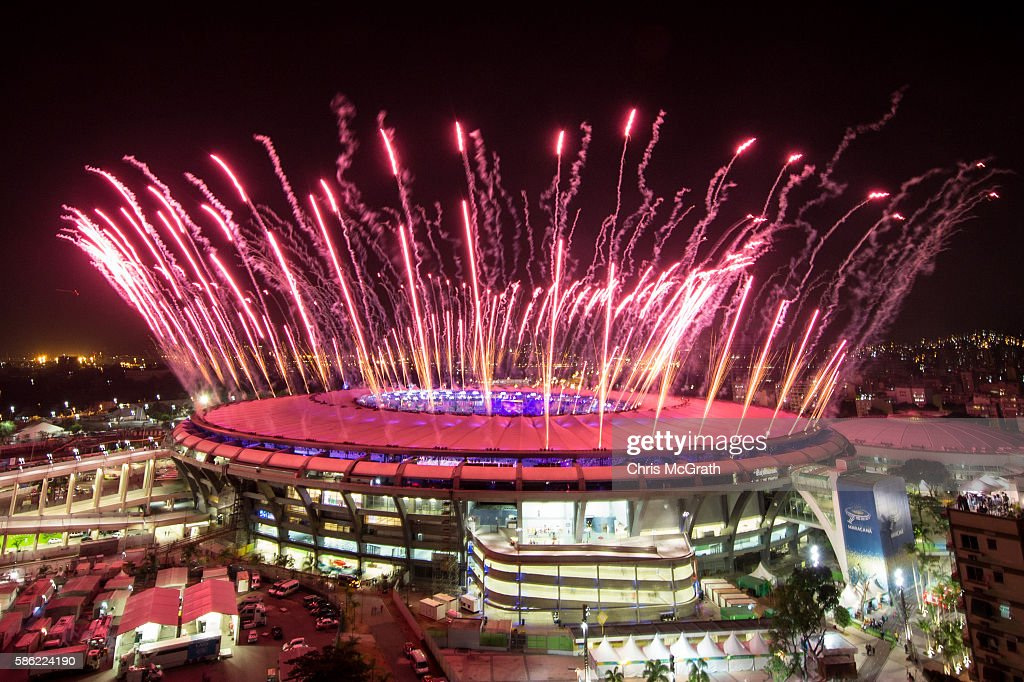 Fireworks explode over the Maracana Stadium during the opening ceremony of the Rio 2016 Olympic Games on August 5, 2016 in Rio de Janeiro, Brazil. Rio 2016 will be the first Olympic Games in South America.