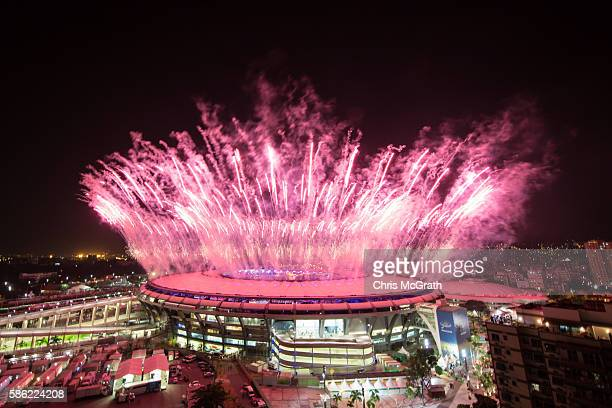 Fireworks explode over the Maracana Stadium during the opening ceremony of the Rio 2016 Olympic Games on August 5, 2016 in Rio de Janeiro, Brazil....