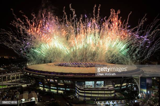 Fireworks explode over the Maracana Stadium during the opening ceremony of the Rio 2016 Olympic Games on August 5 2016 in Rio de Janeiro Brazil Rio...