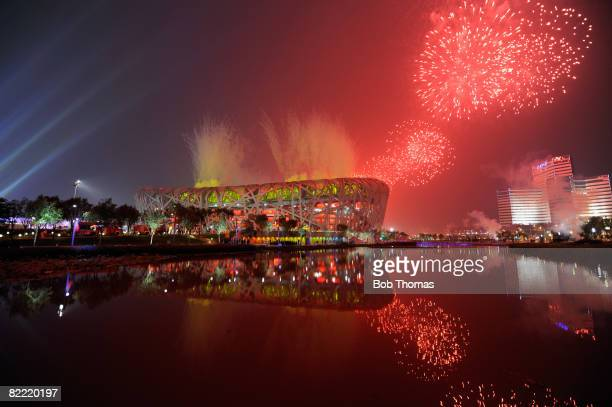 Fireworks explode over the National Stadium during the Opening Ceremony for the Beijing 2008 Olympic Games at the National Stadium on August 8, 2008...