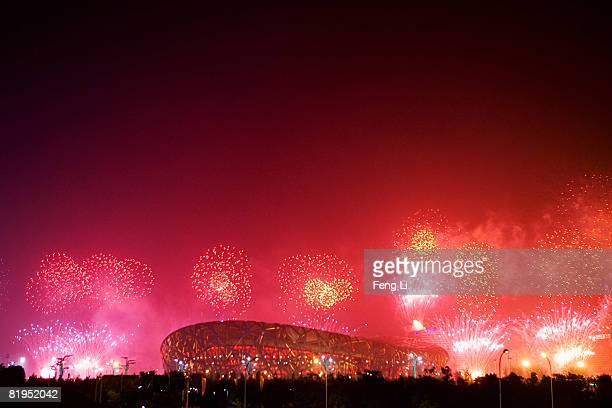 Fireworks explode over the National Stadium, known as Bird's Nest during a rehearsal for the opening ceremony of the 2008 Beijing Olympic Games on...