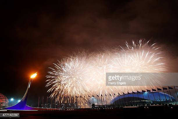 Fireworks explode over the Olympic Park at the end of the Opening Ceremony of the Sochi 2014 Paralympic Winter Games at Fisht Olympic Stadium on...