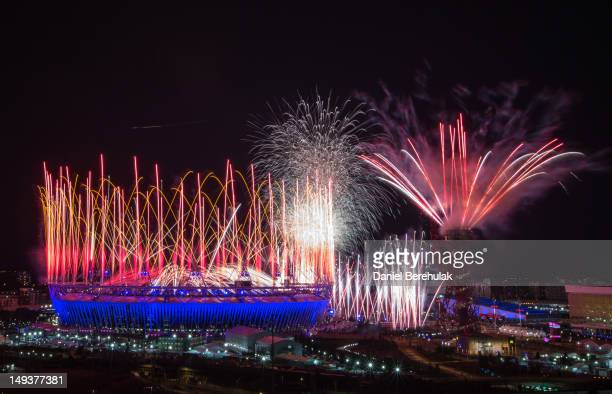 Fireworks explode over the Olympic Stadium during the opening ceremony of the 2012 London Olympic Games on July 27, 2012 in London, England....