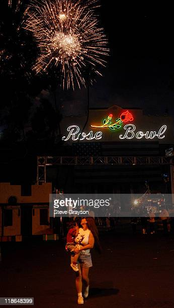 Fireworks explode over the Rose Bowl during 4th of July Taste of America