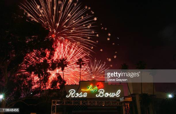 Fireworks explode over the Rose Bowl during 4th of July Taste of America.