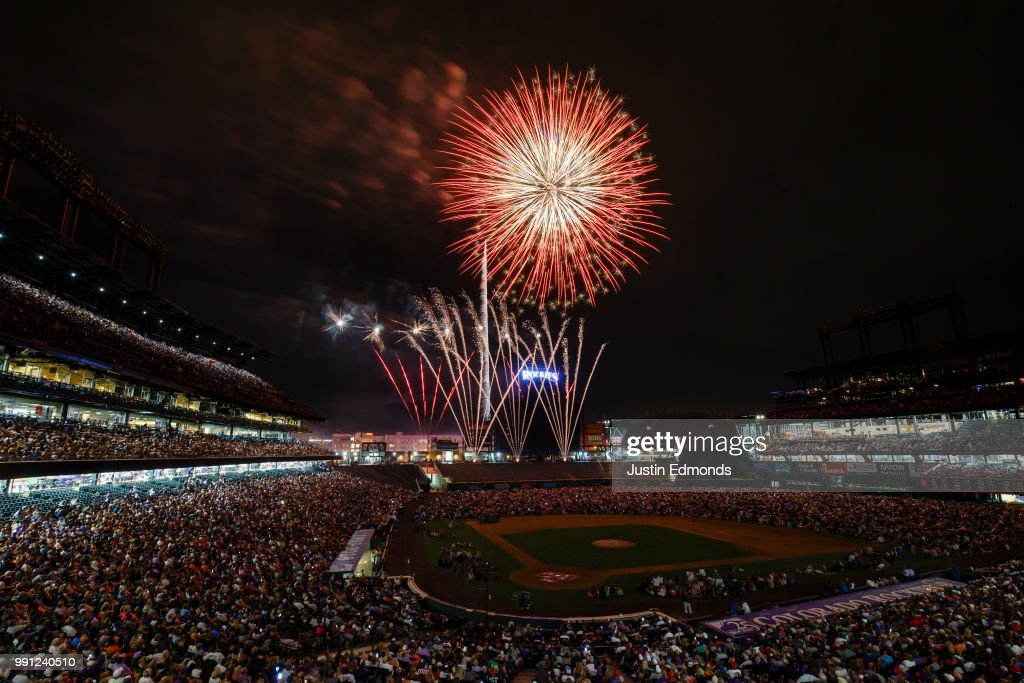 Fireworks explode over the stadium after the Colorado Rockies defeated the San Francisco Giants 8-1 at Coors Field on July 3, 2018 in Denver, Colorado.