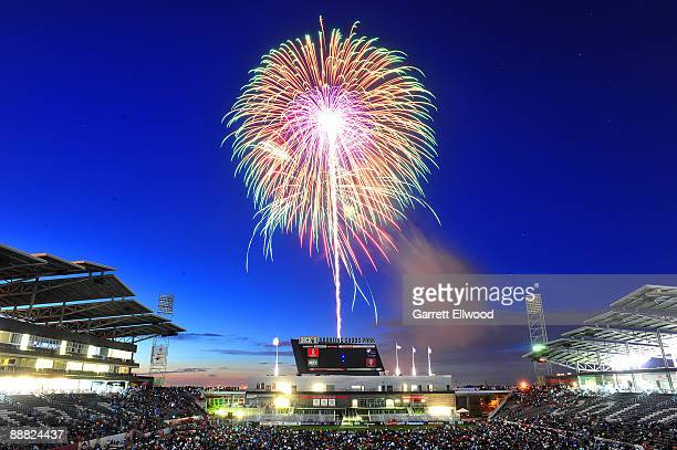 Fireworks explode over the stadium after the game between the Chicago Fire and the Colorado Rapids on July 4, 2009 at Dicks Sporting Goods Park in...