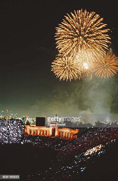 Fireworks explode over the stadium during the closing ceremony for the XXIII Olympic Games on 12 August 1984 at the Los Angeles Memorial Coliseum in...